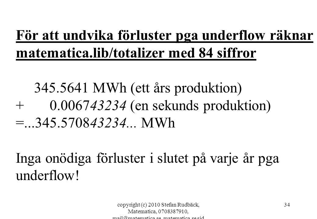 copyright (c) 2010 Stefan Rudbäck, Matematica, 0708387910, mail@matematica.se, matematica.se sid 34 För att undvika förluster pga underflow räknar mat