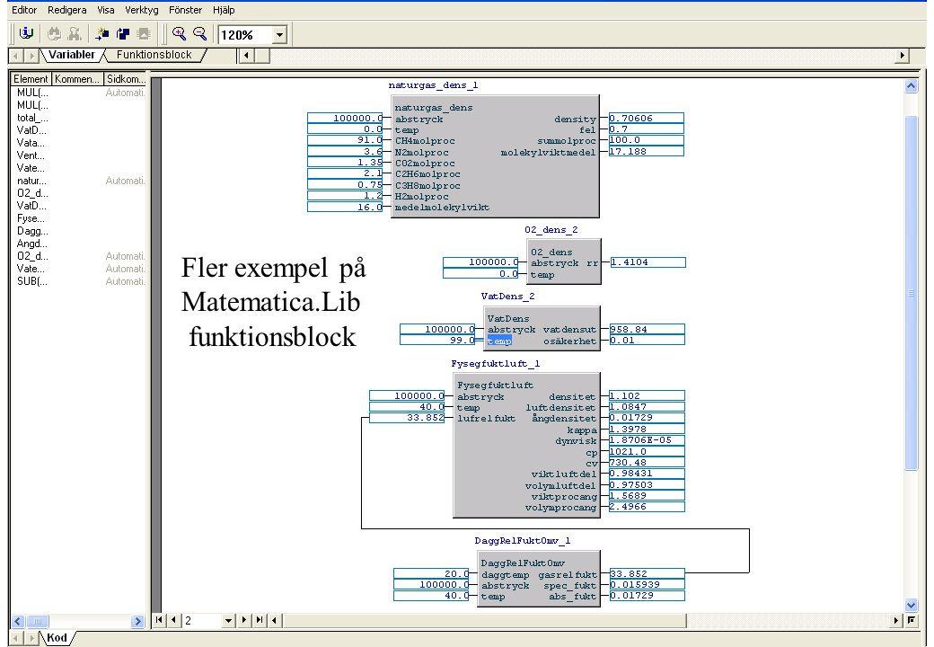 copyright (c) 2010 Stefan Rudbäck, Matematica, 0708387910, mail@matematica.se, matematica.se sid 41 Fler exempel på Matematica.Lib funktionsblock