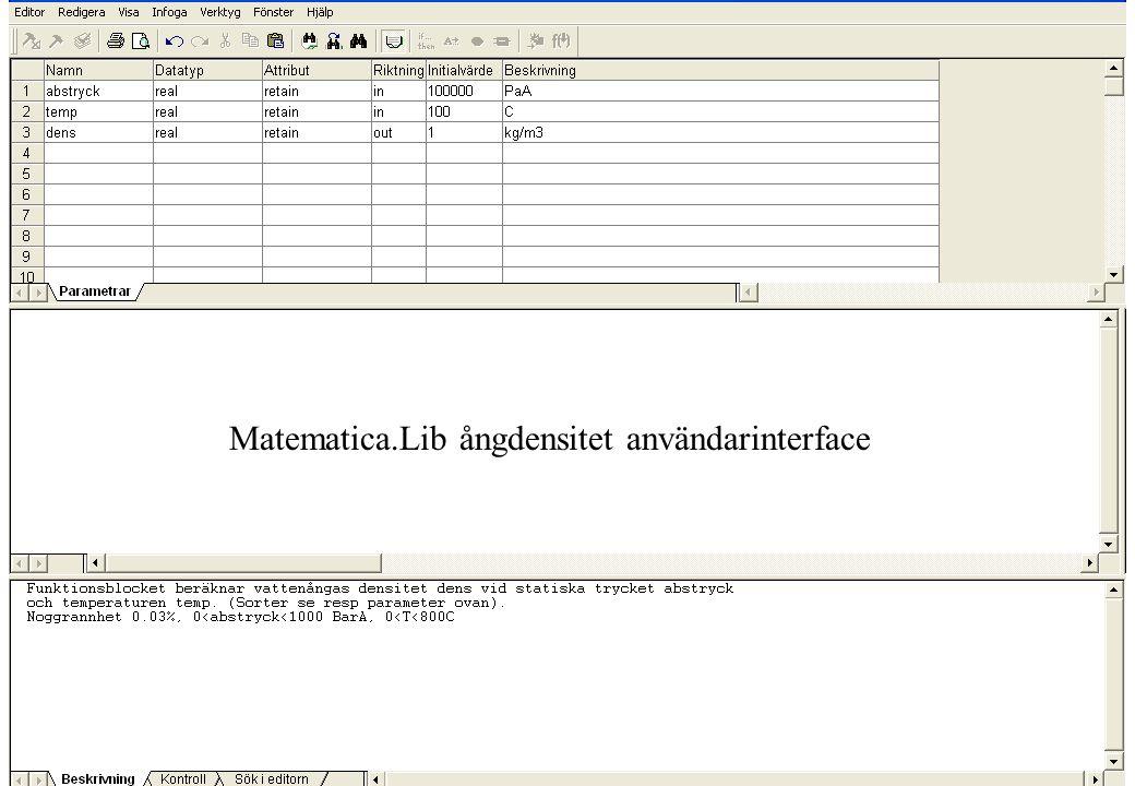 copyright (c) 2010 Stefan Rudbäck, Matematica, 0708387910, mail@matematica.se, matematica.se sid 44 Matematica.Lib ångdensitet användarinterface