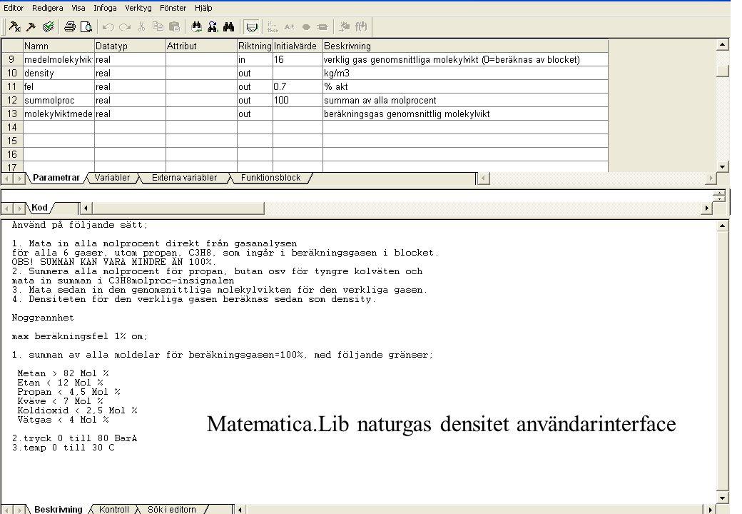copyright (c) 2010 Stefan Rudbäck, Matematica, 0708387910, mail@matematica.se, matematica.se sid 45 Matematica.Lib naturgas densitet användarinterface