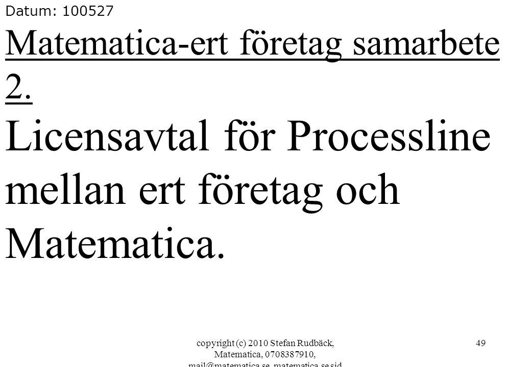 copyright (c) 2010 Stefan Rudbäck, Matematica, 0708387910, mail@matematica.se, matematica.se sid 49 Datum: 100527 Matematica-ert företag samarbete 2.