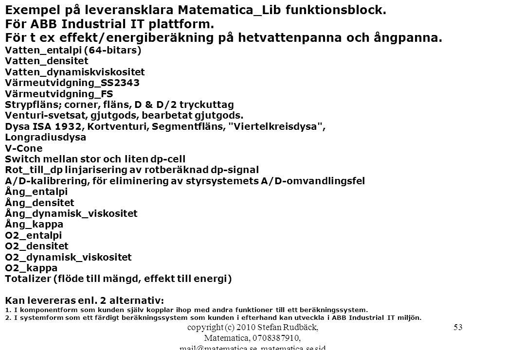 copyright (c) 2010 Stefan Rudbäck, Matematica, 0708387910, mail@matematica.se, matematica.se sid 53 Exempel på leveransklara Matematica_Lib funktionsb