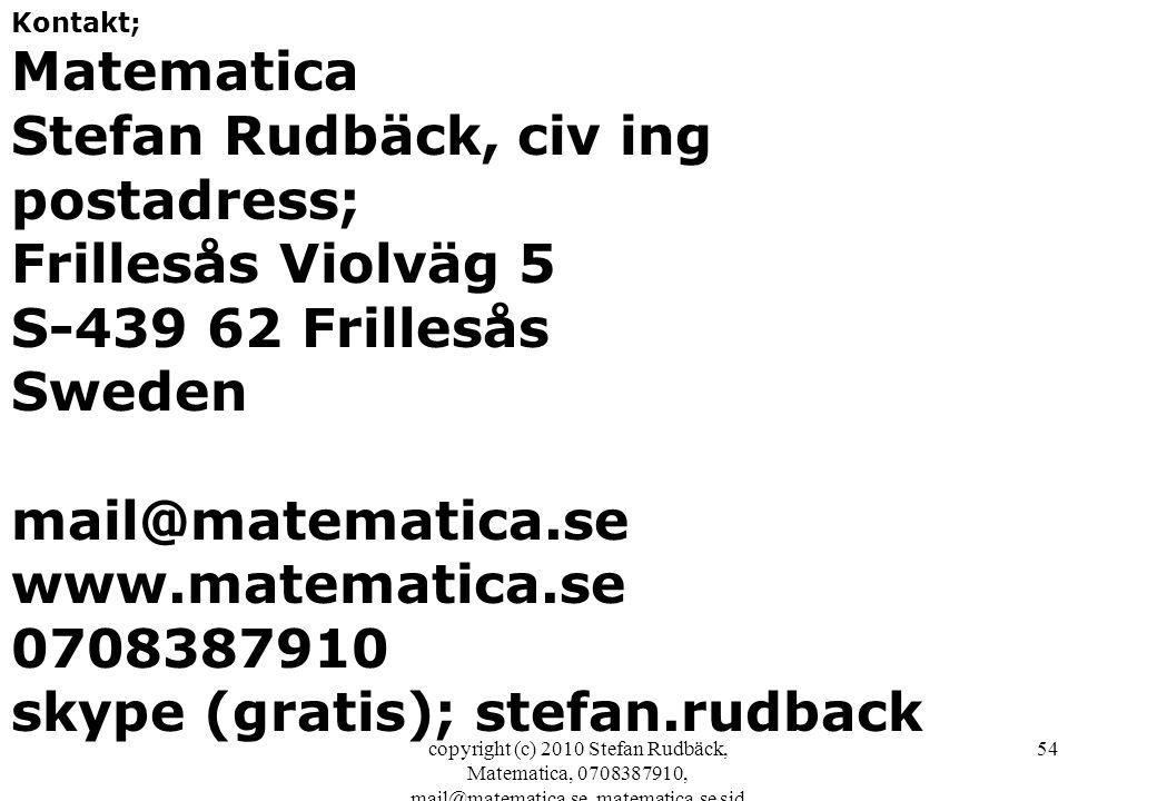 copyright (c) 2010 Stefan Rudbäck, Matematica, 0708387910, mail@matematica.se, matematica.se sid 54 Kontakt; Matematica Stefan Rudbäck, civ ing postad