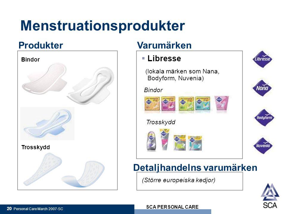 SCA PERSONAL CARE 20 Personal Care March 2007-SC ProdukterVarumärken  Libresse (lokala märken som Nana, Bodyform, Nuvenia) Bindor Trosskydd Menstruationsprodukter Bindor Trosskydd Detaljhandelns varumärken (Större europeiska kedjor)