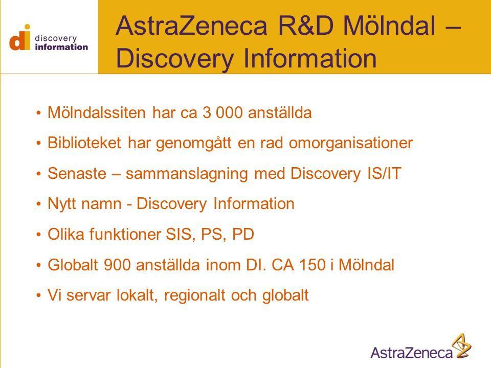 AstraZeneca R&D Mölndal – Discovery Information • Mölndalssiten har ca 3 000 anställda • Biblioteket har genomgått en rad omorganisationer • Senaste – sammanslagning med Discovery IS/IT • Nytt namn - Discovery Information • Olika funktioner SIS, PS, PD • Globalt 900 anställda inom DI.
