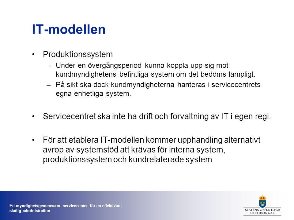 Ett myndighetsgemensamt servicecenter för en effektivare statlig administration IT-modellen •Produktionssystem –Under en övergångsperiod kunna koppla
