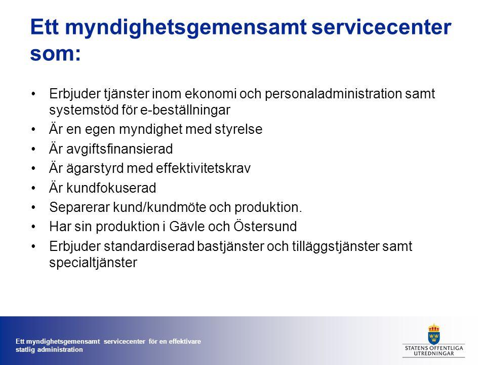 Ett myndighetsgemensamt servicecenter för en effektivare statlig administration Initialt bastjänstutbud - ex löneadministration är en bastjänst.