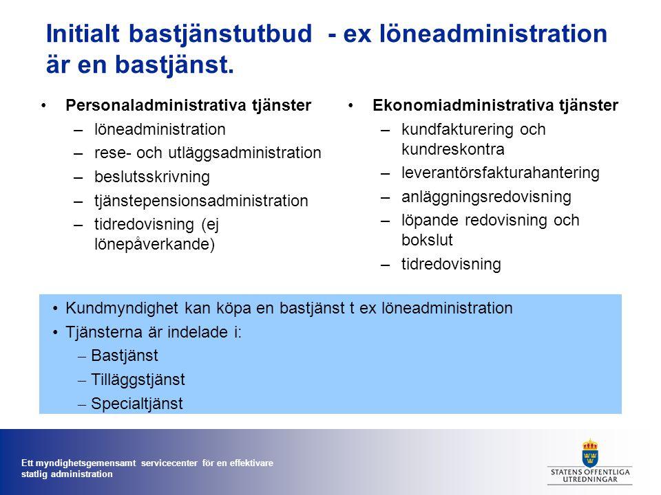 Ett myndighetsgemensamt servicecenter för en effektivare statlig administration Stöd för e-beställningar 1.Integrerad helhetslösning med ekonomisystem i servicecentret.