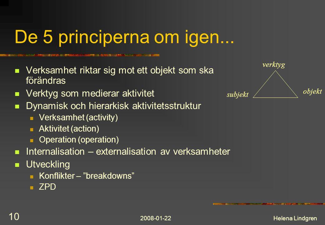 2008-01-22Helena Lindgren 10 De 5 principerna om igen...  Verksamhet riktar sig mot ett objekt som ska förändras  Verktyg som medierar aktivitet  D