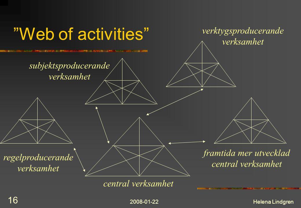 "2008-01-22Helena Lindgren 16 ""Web of activities"" central verksamhet regelproducerande verksamhet subjektsproducerande verksamhet verktygsproducerande"