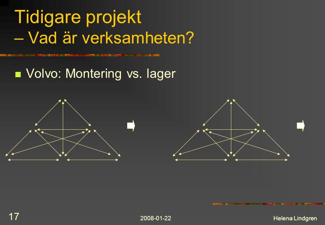 2008-01-22Helena Lindgren 17 Tidigare projekt – Vad är verksamheten?  Volvo: Montering vs. lager