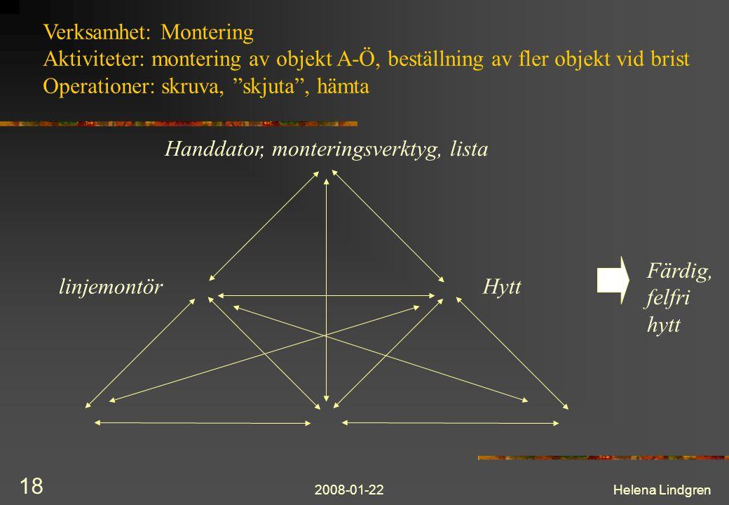 """2008-01-22Helena Lindgren 18 Verksamhet: Montering Aktiviteter: montering av objekt A-Ö, beställning av fler objekt vid brist Operationer: skruva, """"sk"""