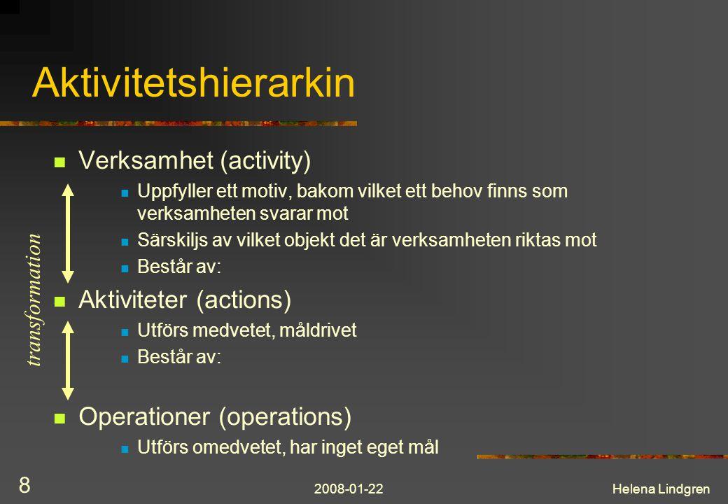 2008-01-22Helena Lindgren 8 Aktivitetshierarkin  Verksamhet (activity)  Uppfyller ett motiv, bakom vilket ett behov finns som verksamheten svarar mo
