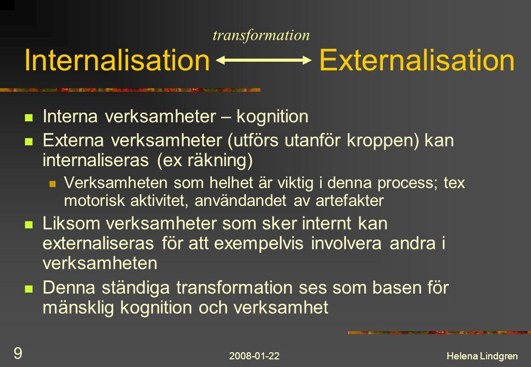 2008-01-22Helena Lindgren 9 Internalisation Externalisation  Interna verksamheter – kognition  Externa verksamheter (utförs utanför kroppen) kan int