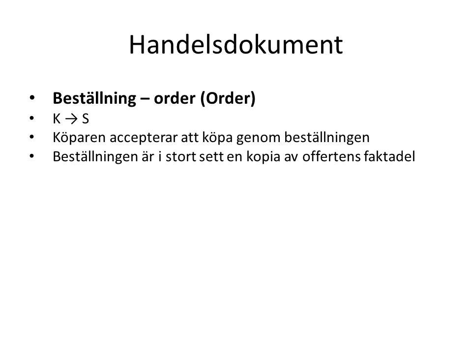 Handelsdokument • Beställning – order (Order) • K → S • Köparen accepterar att köpa genom beställningen • Beställningen är i stort sett en kopia av offertens faktadel