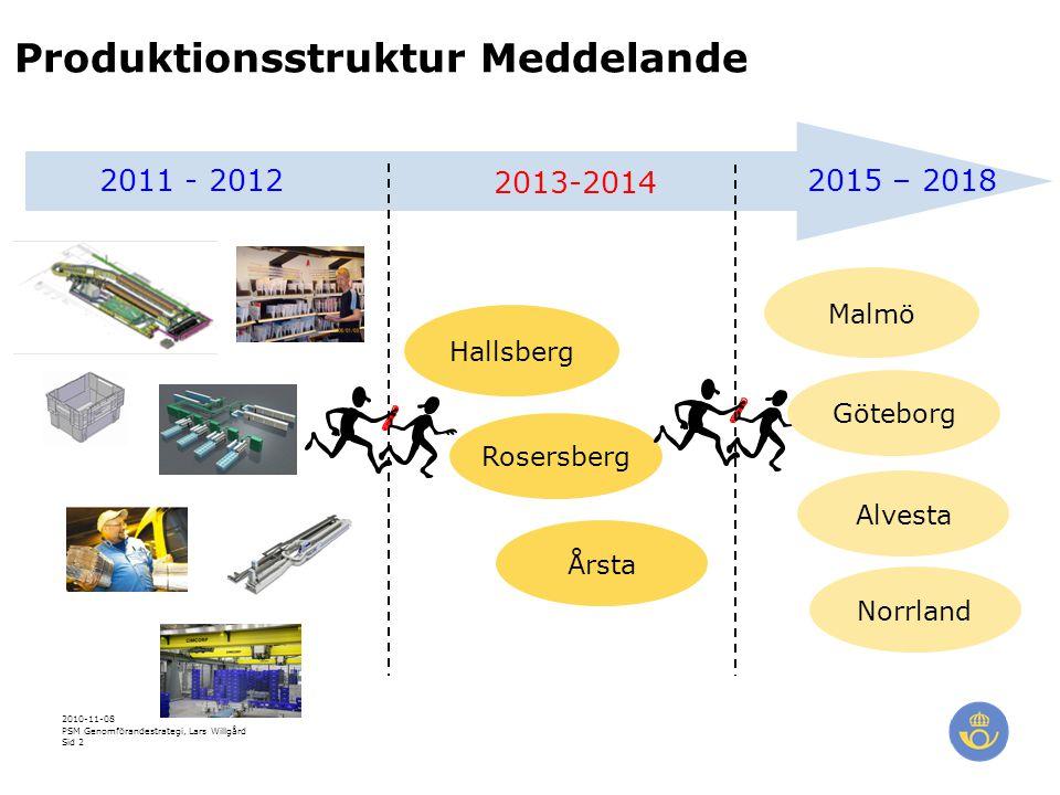 2010-11-08 PSM Genomförandestrategi, Lars Willgård Sid 2 Produktionsstruktur Meddelande Hallsberg Rosersberg Årsta 2013-2014 2011 - 20122015 – 2018 Malmö Göteborg Alvesta Norrland