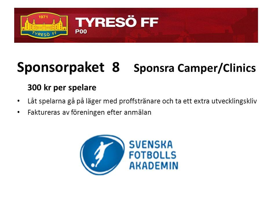 ö Sponsorpaket 8 Sponsra Camper/Clinics 300 kr per spelare • Låt spelarna gå på läger med proffstränare och ta ett extra utvecklingskliv • Faktureras