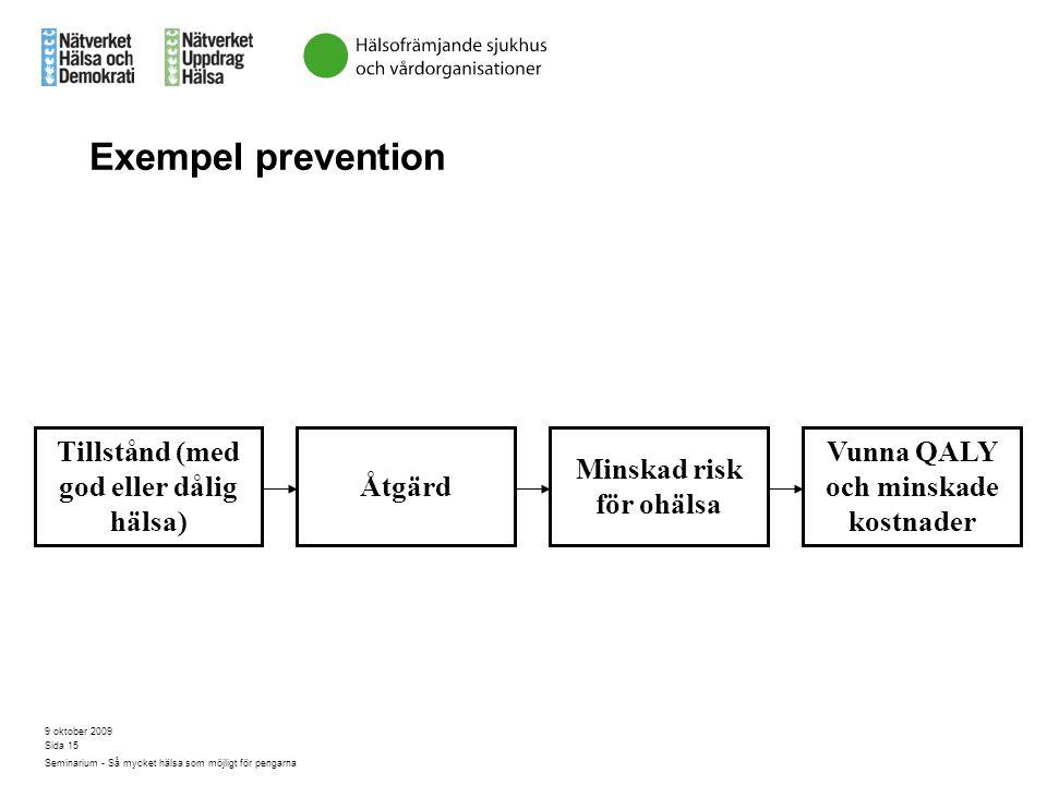 9 oktober 2009 Seminarium - Så mycket hälsa som möjligt för pengarna Sida 15 Exempel prevention Tillstånd (med god eller dålig hälsa) Åtgärd Minskad r