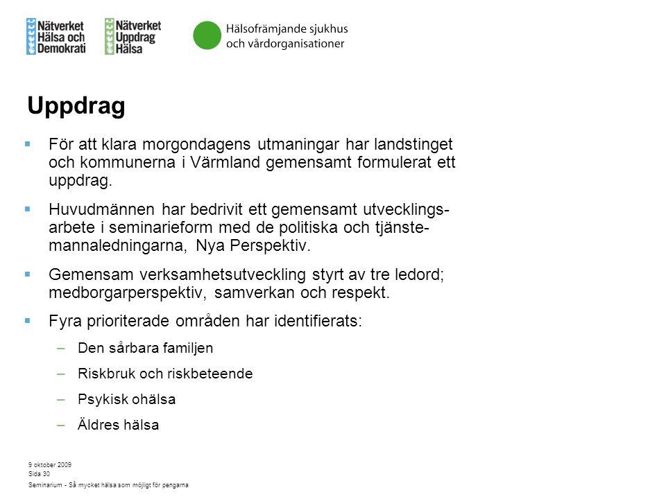 9 oktober 2009 Seminarium - Så mycket hälsa som möjligt för pengarna Sida 30 Uppdrag  För att klara morgondagens utmaningar har landstinget och kommu