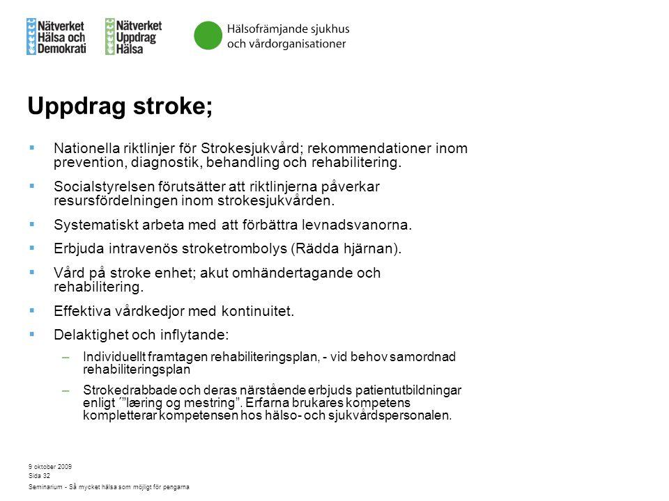 9 oktober 2009 Seminarium - Så mycket hälsa som möjligt för pengarna Sida 32 Uppdrag stroke;  Nationella riktlinjer för Strokesjukvård; rekommendatio