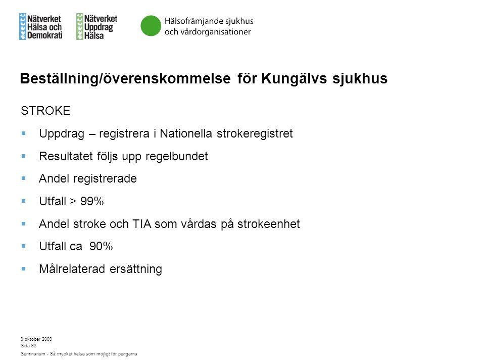 9 oktober 2009 Seminarium - Så mycket hälsa som möjligt för pengarna Sida 38 Beställning/överenskommelse för Kungälvs sjukhus STROKE  Uppdrag – regis