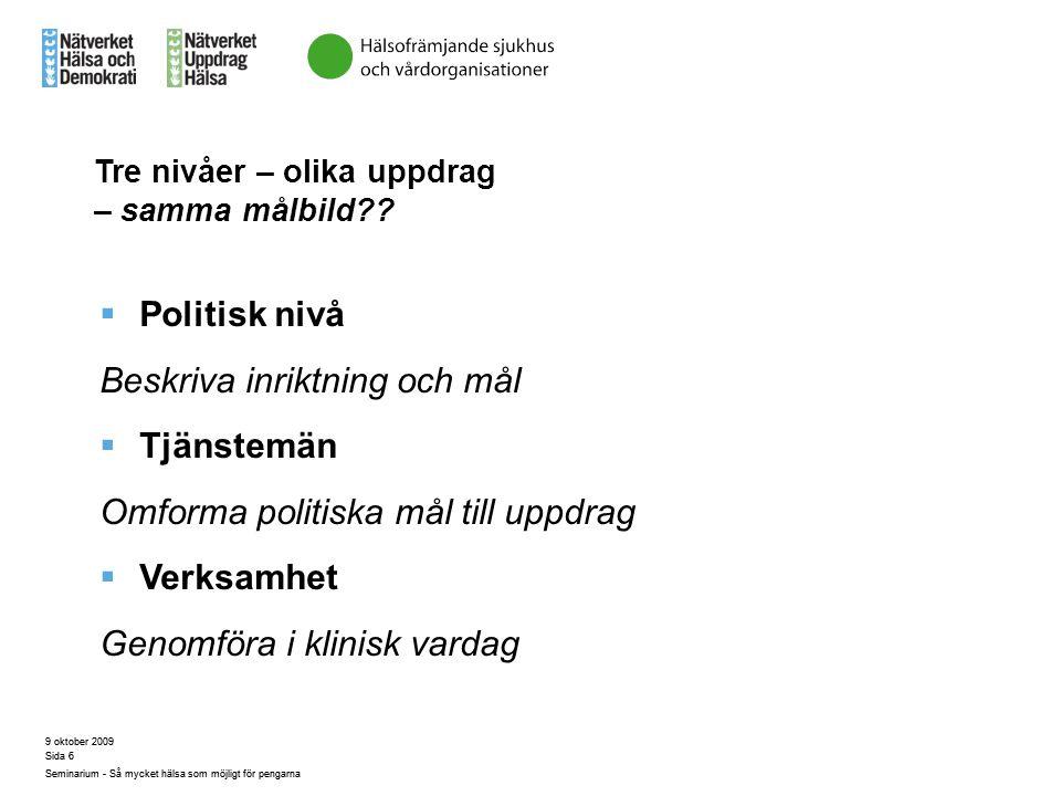 9 oktober 2009 Seminarium - Så mycket hälsa som möjligt för pengarna Sida 6 Tre nivåer – olika uppdrag – samma målbild??  Politisk nivå Beskriva inri