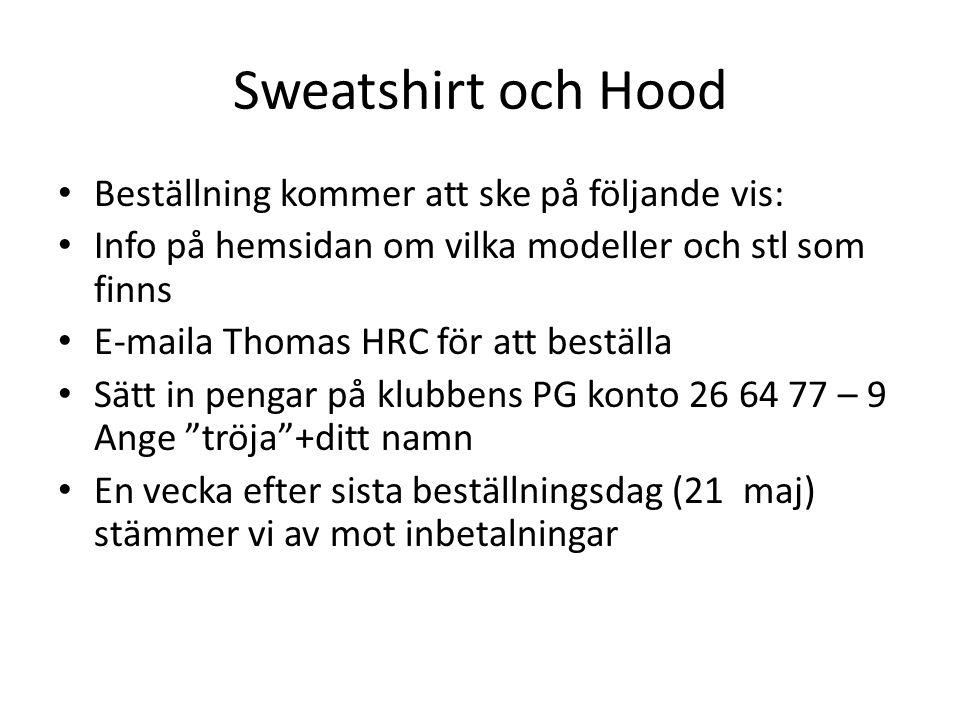 Sweatshirt och Hood • Beställning kommer att ske på följande vis: • Info på hemsidan om vilka modeller och stl som finns • E-maila Thomas HRC för att beställa • Sätt in pengar på klubbens PG konto 26 64 77 – 9 Ange tröja +ditt namn • En vecka efter sista beställningsdag (21 maj) stämmer vi av mot inbetalningar