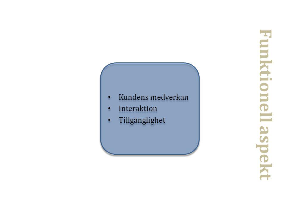 • Kundens medverkan • Interaktion • Tillgänglighet • Kundens medverkan • Interaktion • Tillgänglighet