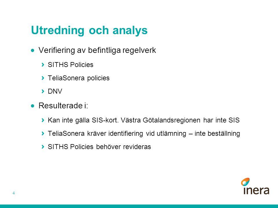 Utredning och analys 4  Verifiering av befintliga regelverk SITHS Policies TeliaSonera policies DNV  Resulterade i: Kan inte gälla SIS-kort. Västra