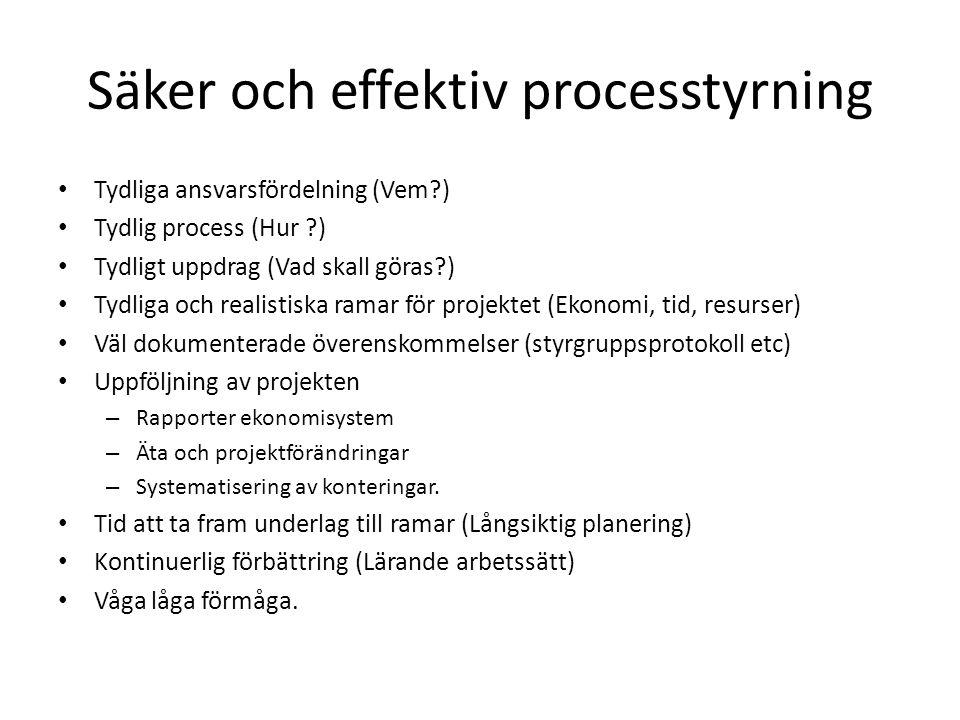Säker och effektiv processtyrning • Tydliga ansvarsfördelning (Vem?) • Tydlig process (Hur ?) • Tydligt uppdrag (Vad skall göras?) • Tydliga och reali