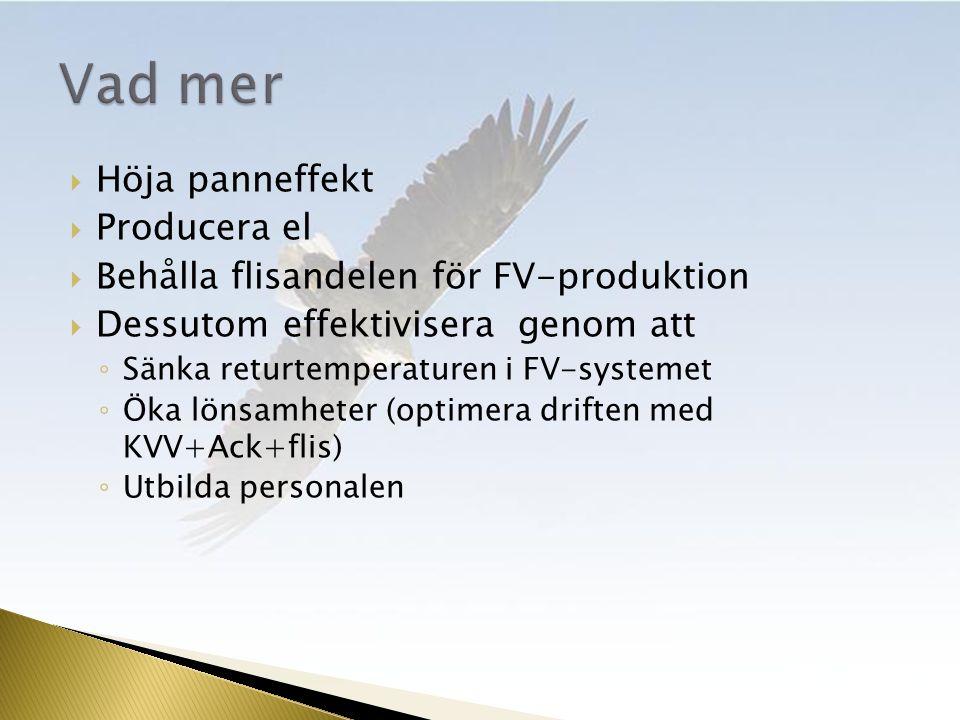  Höja panneffekt  Producera el  Behålla flisandelen för FV-produktion  Dessutom effektivisera genom att ◦ Sänka returtemperaturen i FV-systemet ◦ Öka lönsamheter (optimera driften med KVV+Ack+flis) ◦ Utbilda personalen