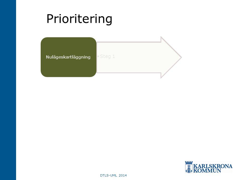 DTLS-UML 2014 •Steg 1 Nulägeskartläggning Prioritering
