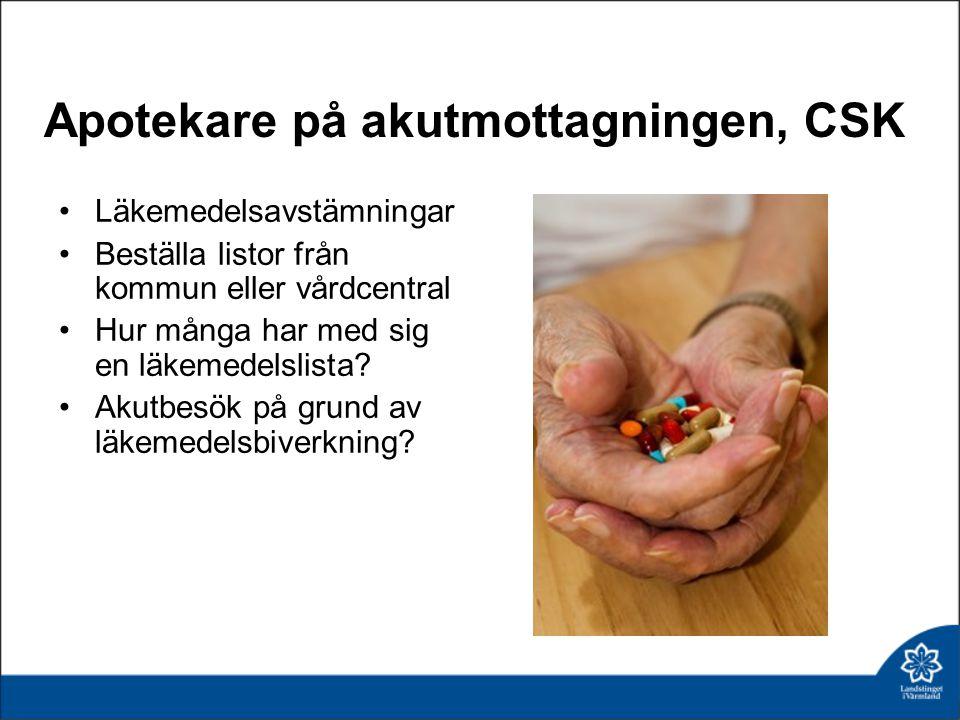 Apotekare på akutmottagningen, CSK •Läkemedelsavstämningar •Beställa listor från kommun eller vårdcentral •Hur många har med sig en läkemedelslista.