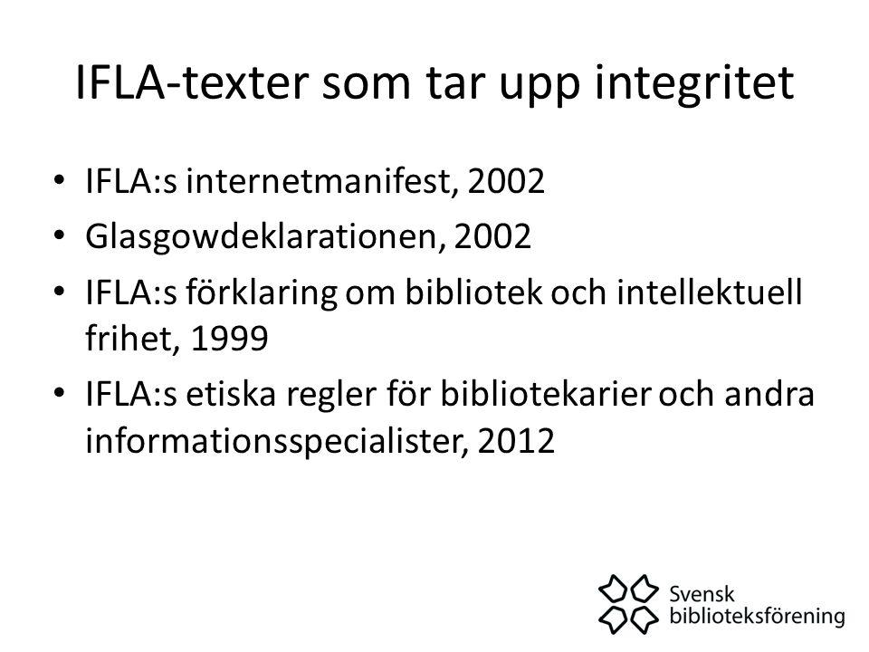 IFLA-texter som tar upp integritet • IFLA:s internetmanifest, 2002 • Glasgowdeklarationen, 2002 • IFLA:s förklaring om bibliotek och intellektuell frihet, 1999 • IFLA:s etiska regler för bibliotekarier och andra informationsspecialister, 2012