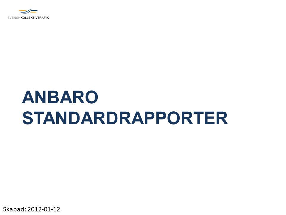 ANBARO STANDARDRAPPORTER Skapad: 2012-01-12