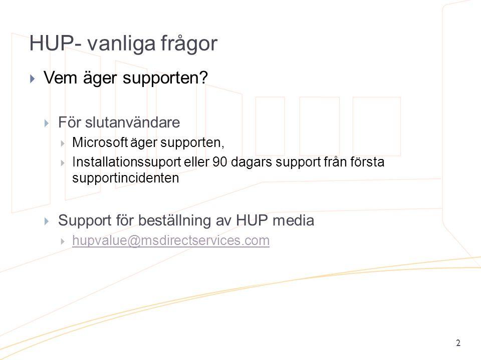 HUP- vanliga frågor 2  Vem äger supporten?  För slutanvändare  Microsoft äger supporten,  Installationssuport eller 90 dagars support från första