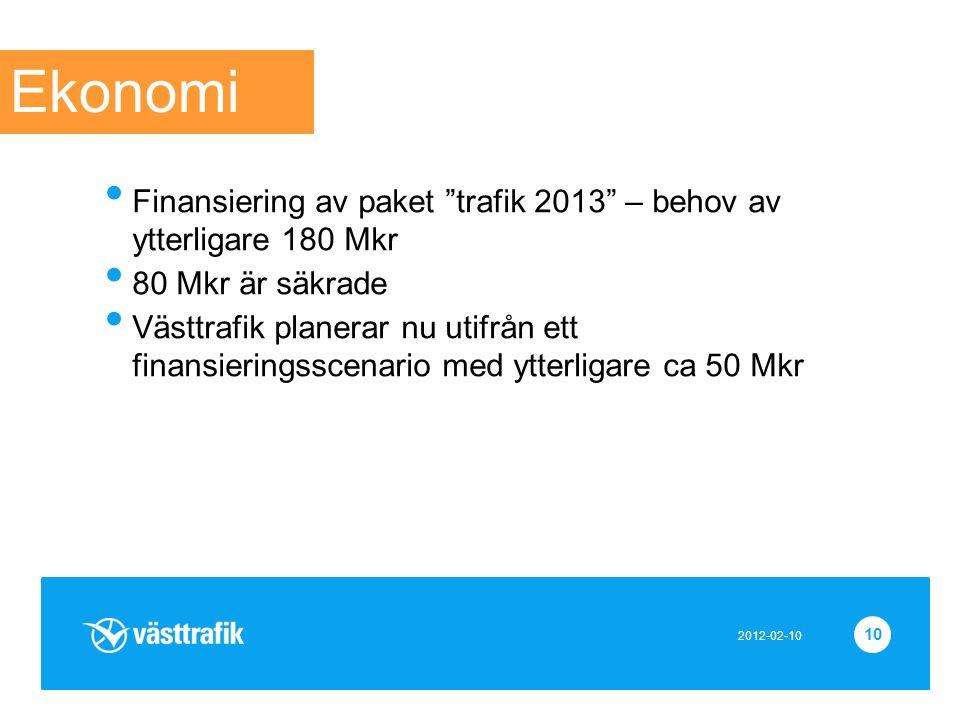 """10 • Finansiering av paket """"trafik 2013"""" – behov av ytterligare 180 Mkr • 80 Mkr är säkrade • Västtrafik planerar nu utifrån ett finansieringsscenario"""