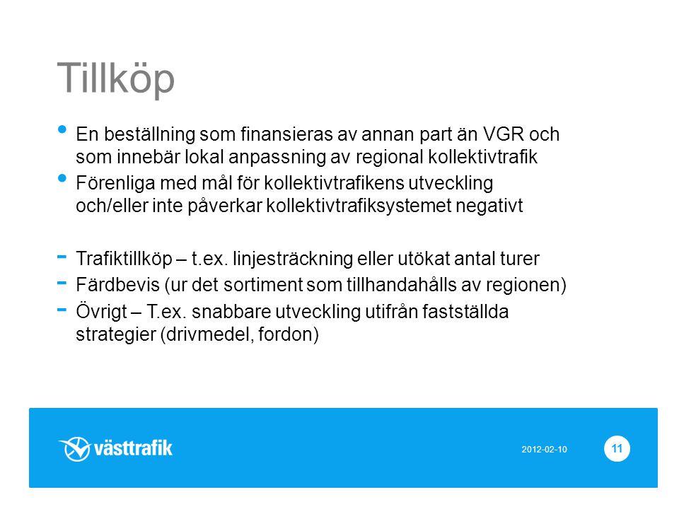 2012-02-10 11 Tillköp • En beställning som finansieras av annan part än VGR och som innebär lokal anpassning av regional kollektivtrafik • Förenliga m