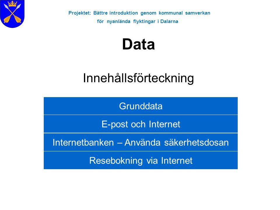Projektet: Bättre introduktion genom kommunal samverkan för nyanlända flyktingar i Dalarna Internet & Sökövningar 1.Att använda sig av adressfältet 2.Sökmotorer-siter •Altavisa (www.altavista.se)www.altavista.se •Google (www.google.se)www.google.se