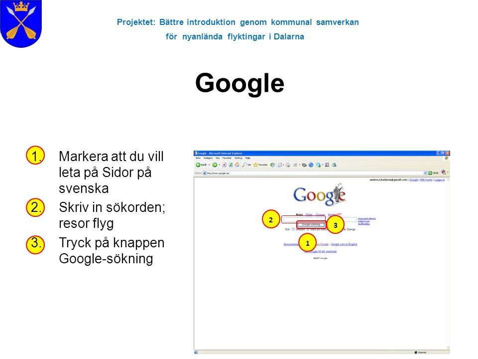 Projektet: Bättre introduktion genom kommunal samverkan för nyanlända flyktingar i Dalarna Google 1.Markera att du vill leta på Sidor på svenska 2.Skr