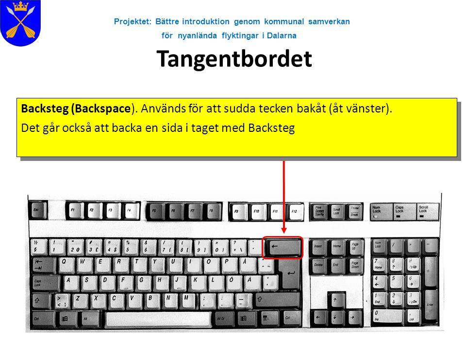 Projektet: Bättre introduktion genom kommunal samverkan för nyanlända flyktingar i Dalarna Tangentbordet Backsteg (Backspace). Används för att sudda t
