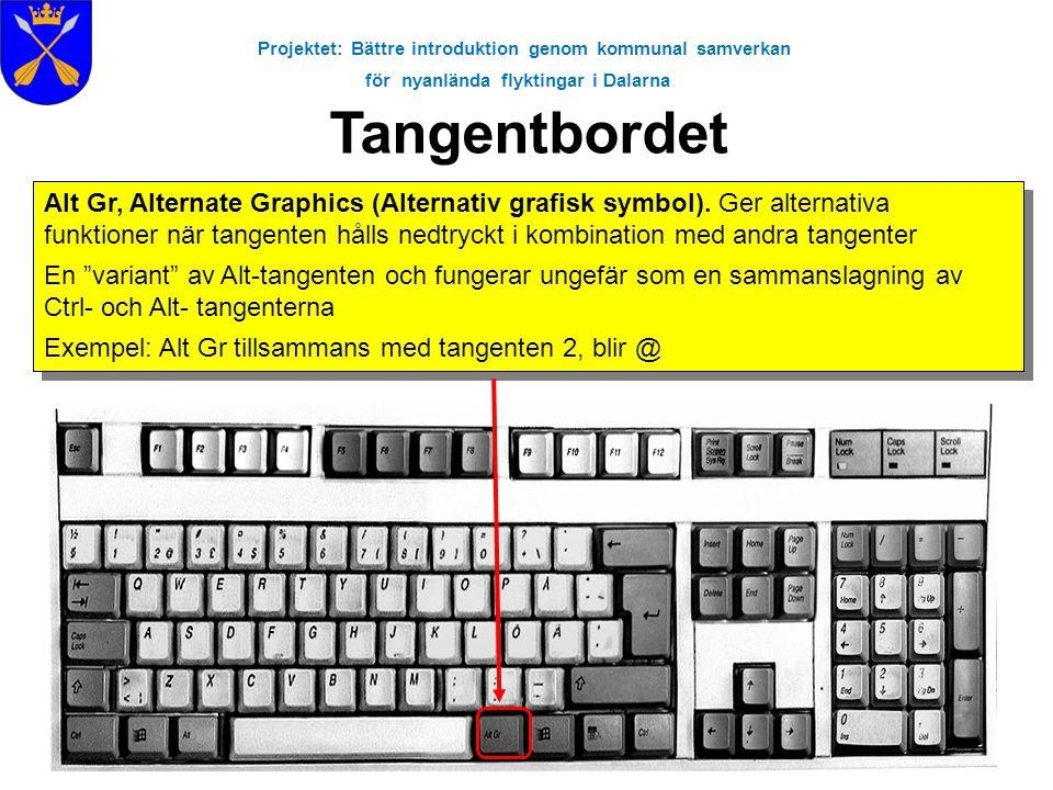 Projektet: Bättre introduktion genom kommunal samverkan för nyanlända flyktingar i Dalarna Tangentbordet Alt Gr, Alternate Graphics (Alternativ grafis