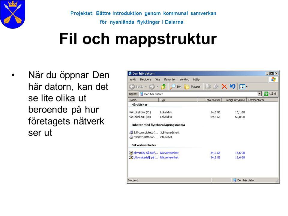 Projektet: Bättre introduktion genom kommunal samverkan för nyanlända flyktingar i Dalarna Fil och mappstruktur •När du öppnar Den här datorn, kan det