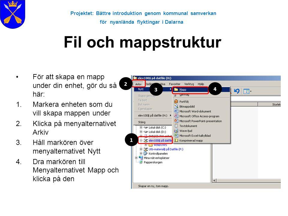Projektet: Bättre introduktion genom kommunal samverkan för nyanlända flyktingar i Dalarna Fil och mappstruktur •För att skapa en mapp under din enhet