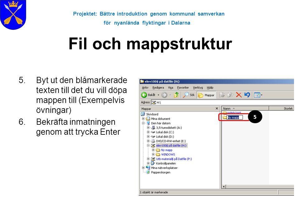 Projektet: Bättre introduktion genom kommunal samverkan för nyanlända flyktingar i Dalarna Fil och mappstruktur 5.Byt ut den blåmarkerade texten till
