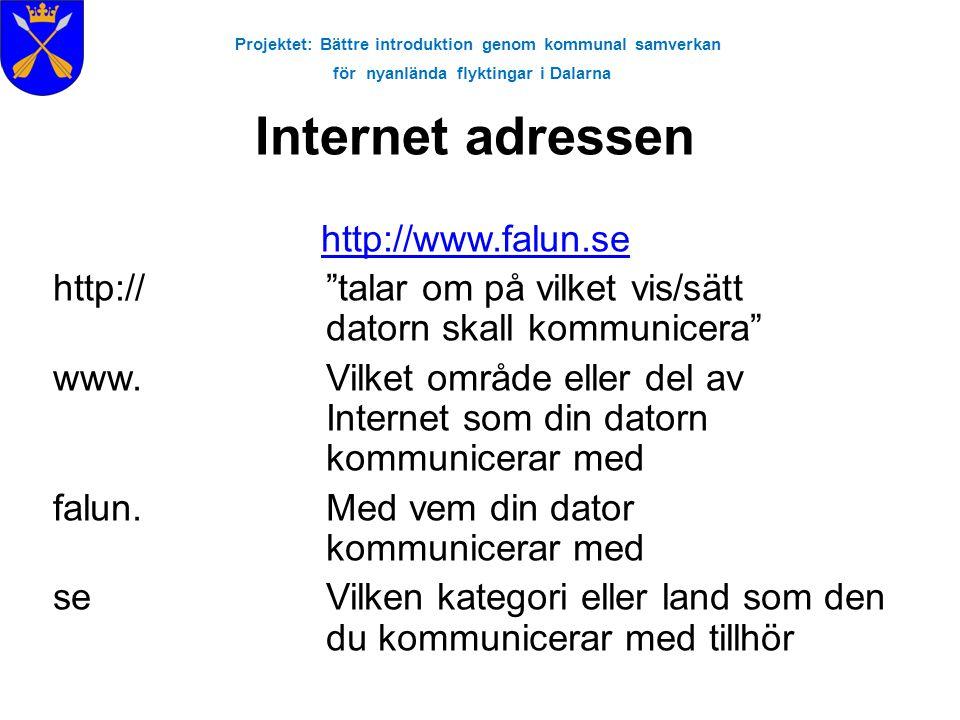 """Projektet: Bättre introduktion genom kommunal samverkan för nyanlända flyktingar i Dalarna Internet adressen http://www.falun.se http:// """"talar om på"""