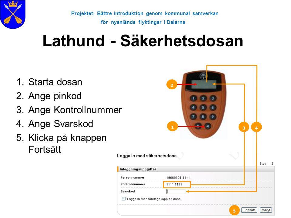 Projektet: Bättre introduktion genom kommunal samverkan för nyanlända flyktingar i Dalarna Lathund - Säkerhetsdosan 1.Starta dosan 2.Ange pinkod 3.Ang