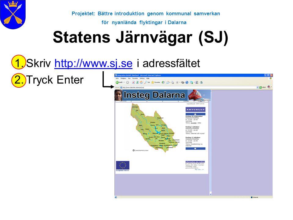 Projektet: Bättre introduktion genom kommunal samverkan för nyanlända flyktingar i Dalarna Statens Järnvägar (SJ) 1.Skriv http://www.sj.se i adressfäl
