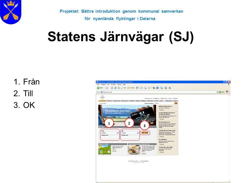 Projektet: Bättre introduktion genom kommunal samverkan för nyanlända flyktingar i Dalarna Statens Järnvägar (SJ) 1.Från 2.Till 3.OK 123