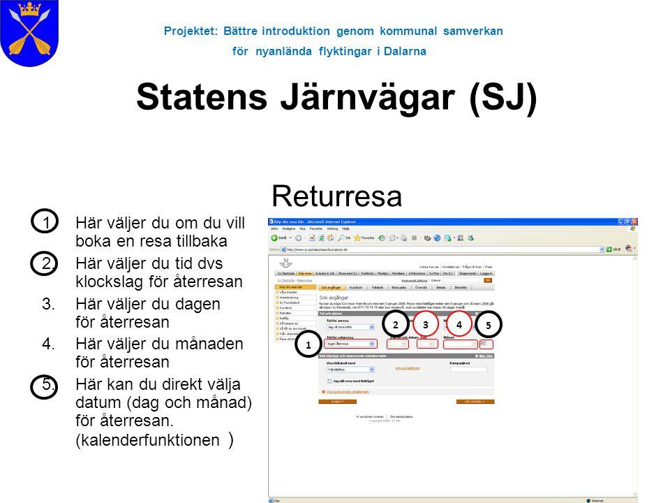 Projektet: Bättre introduktion genom kommunal samverkan för nyanlända flyktingar i Dalarna 1.Här väljer du om du vill boka en resa tillbaka 2.Här välj